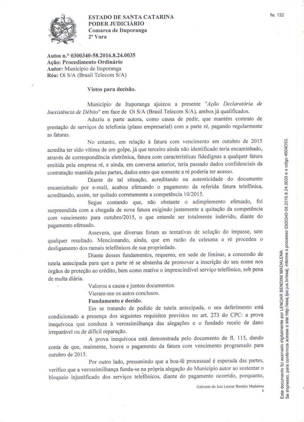Empresa de telefonia descumpre decisão judicial e prejudica os serviços da Prefeitura de Ituporanga