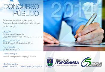 Inscrições para o Concurso Público da Prefeitura de Ituporanga seguem até abril