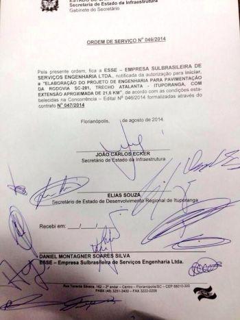 Assinada ordem de serviço para elaboração do projeto de pavimentação da SC-281