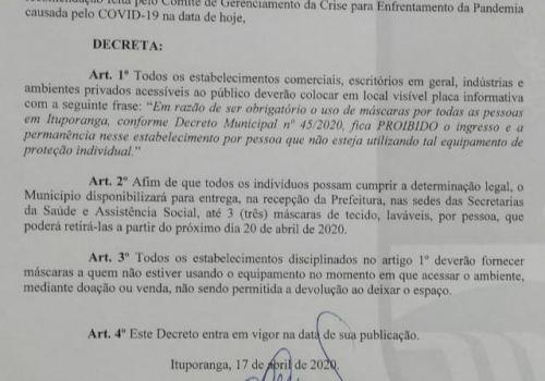 Administração Municipal assina decreto sobre obrigatoriedade do uso de máscara