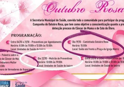 Caminhada alusiva ao Outubro Rosa será realizada nesta terça em Ituporanga