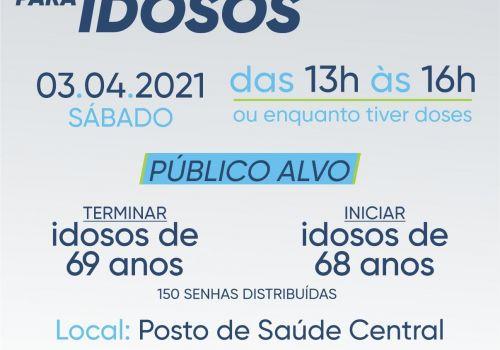Ituporanga fará Campanha de Vacinação contra a COVID na tarde deste sábado para idosos com 68 anos