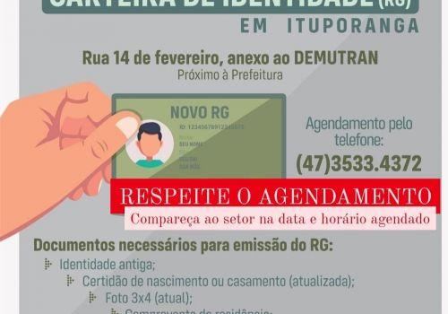 Não comparecimento depois do agendamento prejudica atendimento para emissão do RG em Ituporanga