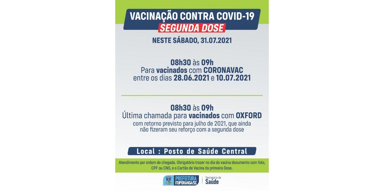 Neste sábado tem também vacinação da segunda dose para dois públicos em Ituporanga