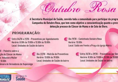 Outubro Rosa terá programação especial em Ituporanga