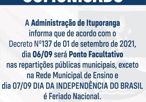 Repartições públicas municipais não terão expediente segunda  e terça (6 e7)  em Ituporanga