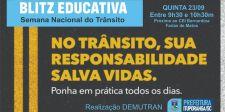 SEMANA NACIONAL DO TRÂNSITO: Blitz educativa será realizada em Ituporanga